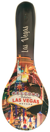 Black Background Ceramic Las Vegas Spoon rest with our Vegas Scene design on it.