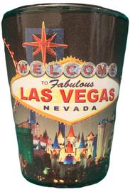 Black Background Las Vegas Scene glass shotglass.