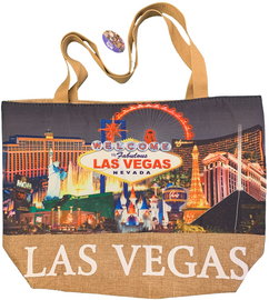 Printed canvas totebag has a straw bottom. Design is of the famous Las Vegas Strip with a Black Background.