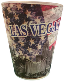 Muted Red, Blue, and Gray Americana Patriotic Las Vegas Shotglass.