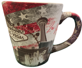 Muted Red, Blue, and Gray Americana Patriotic Las Vegas Shotglass, side view.