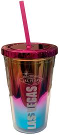 Las Vegas Rainbow Metallic Stainless Steel Tumbler with pink straw and Las Vegas Sign design.
