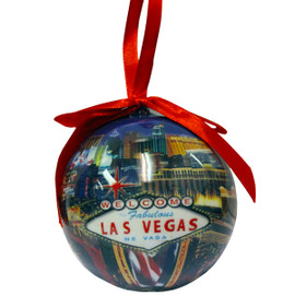 Ball Ornament with a Blue Las Vegas Sign design.