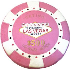 Round Poker Chip Shape Decorative Pillow in Pink and white designed to replicate a real $500 poker chip.