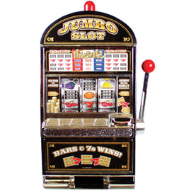 Black & Silver Plastic working Slot Machine Replica. Jumbo Slot graphics and design on this fun, functioning item.