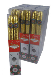 Chocolate wrapped to look like cigars and also a poker chip and a card.