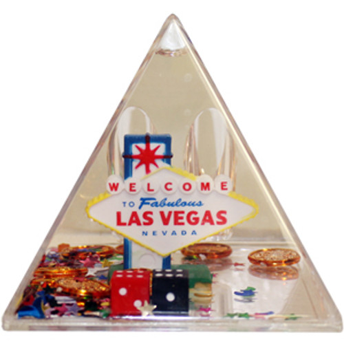Clear pyramid with snow globe liquid with cute Vegas Iconic items like the colorful Las Vegas Sign, mini dice, mini poker chips, mini cards, etc.