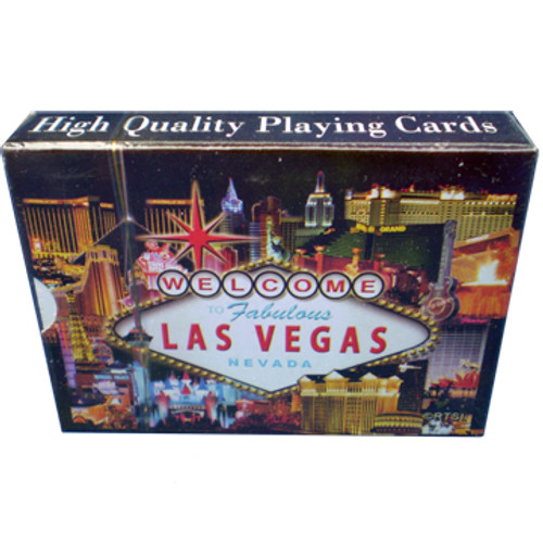 Playing Cards box shows the design on the cards themselves. This design is a black background with a colorful welcome to LV sign and all the famous Las Vegas Casinos in the background.
