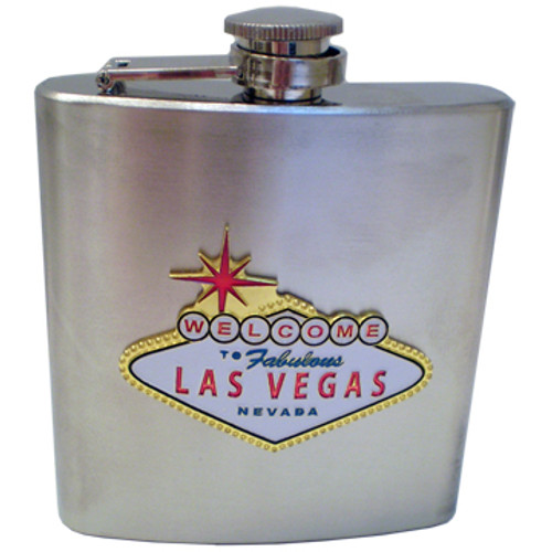 Metal Flask with a Las Vegas Welcome Sign that POPS out as the design on the front.