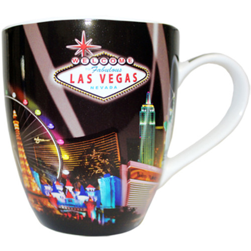 Oversized Las Vegas Souvenir Ceramic mug with a Spotlights design and the Las Vegas Sign.