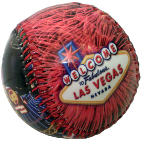 Baseball with a colorful Las Vegas welcome sign and Fireworks scenes all over it.