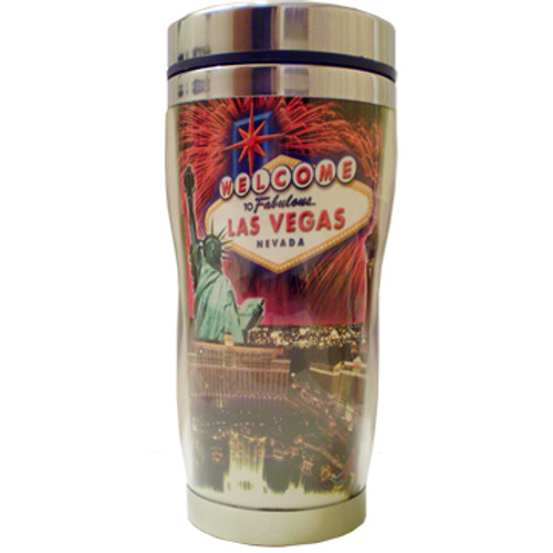 Stainless Steel Sleek Travel Mug which has our Fireworks Design all over it. Showcases Vegas Casinos with Fireworks bursting behind them.