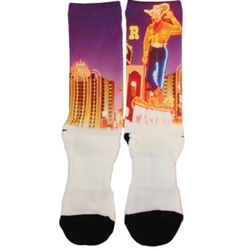 White sock with black toe and heel. Downtown Vic is featured in color on the calf portion of the sock.