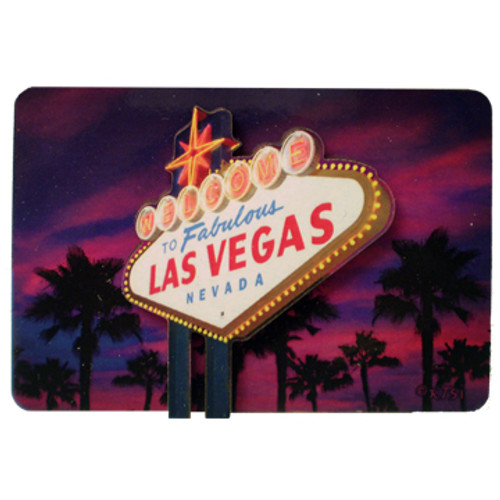 Beautiful Purple Dusk Sky background behind the Welcome to Las Vegas Sign wooden magnet.