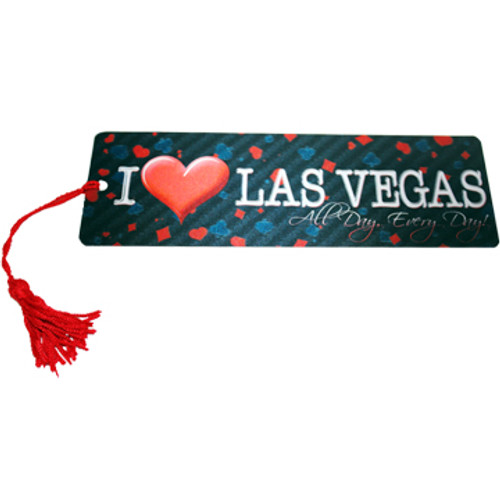"""Bookmark with I """"Heart"""" Las Vegas theme and red tassel."""