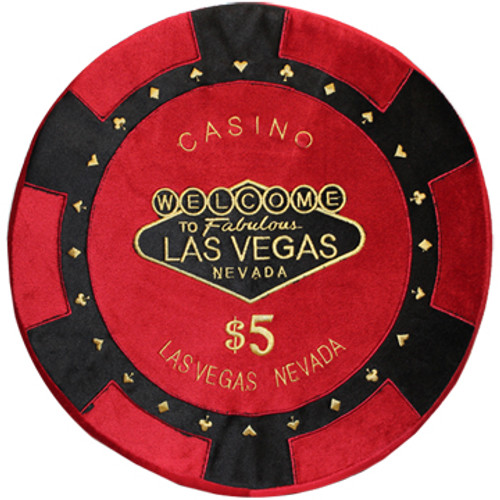 Round Poker Chip Shape Decorative Pillow in Bright Red and Black, designed to replicate a real $5 poker chip.