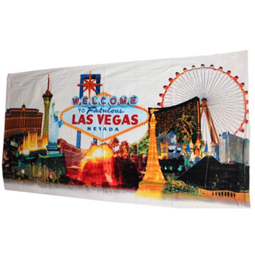 Las Vegas Souvenir Beach Towel- White Skyline