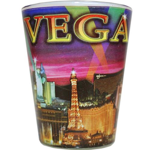 Glass Las Vegas shotglass with a full body purple skyline wrap background.