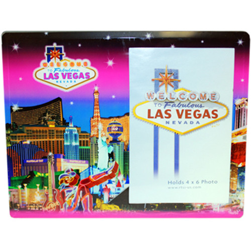 Pink Skyline hues background on this glass Photo Frame showcasing the Beautiful Las Vegas Casinos in full color for a pop of contrasting elements.