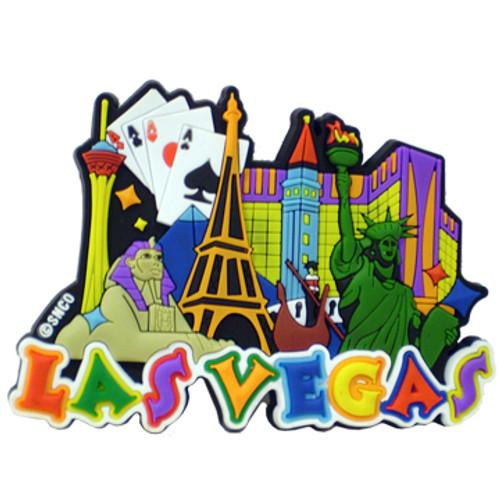 Las Vegas Collage Laser Cut Rubber Magnet Colorful Vegas Icons