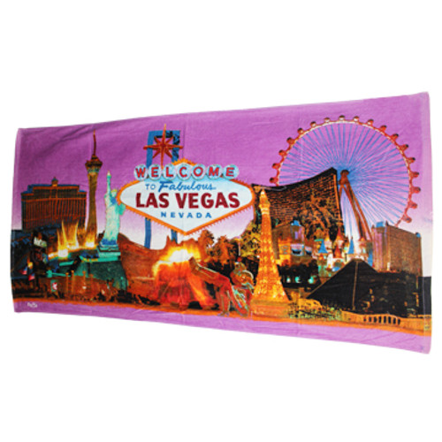 Iconic Las Vegas Casinos with a Purple Skyline background design on this Large size beach towel.