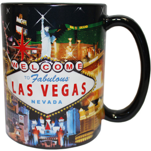 Oversized Las Vegas ceramic coffee mug with a Las Vegas Sign and Hotel collage design embossed with a vibrant strip background, side view.