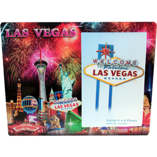 Colorful Glass Photo Frame with a magnificent view of Las Vegas iconic casino in full color background with Fireworks exploding over the scene.