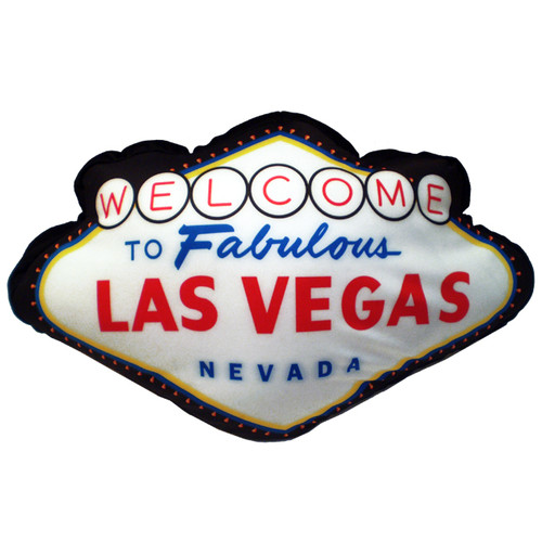 Pillow Shaped like the Welcome to Fabulous Las Vegas Sign. Colors are black, red, white, blue, and hints of yellow.
