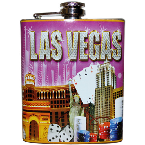 Metal Flask with bold Pink Background and Las Vegas looks like it' in Diamonds on it. Brightly colored Vegas Casinos and Icons all over within the design.