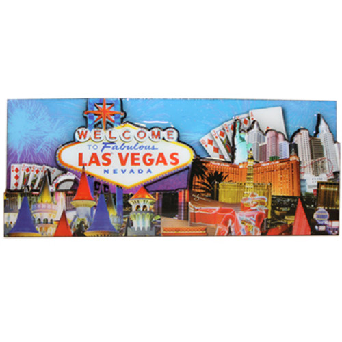 Las Vegas Magnet- Blue Skyline rectangle souvenir magnet shows Casinos and LV Sign