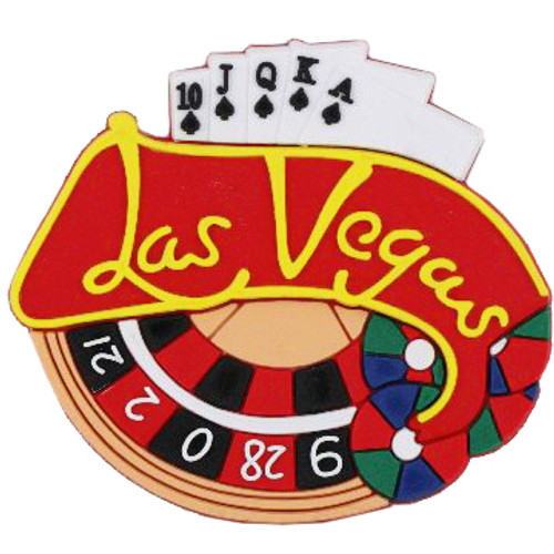 Las Vegas Rubber Magnet-Roulette wheel and playing cards