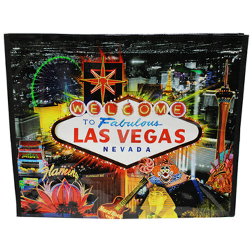 Black Night background tote bag has a huge Yellow and Red colorful Welcome to Las Vegas Sign as the main focus on this with Las Vegas Casinos in bright colors like in real life in the background.