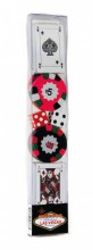 Elongated clear plastic holder has chocolate wrapped poker chips and chocolate playing cards.