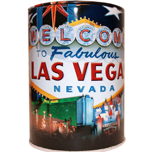 Tin bank in cylinder shape with colorful  US Flag Las Vegas design all over it.