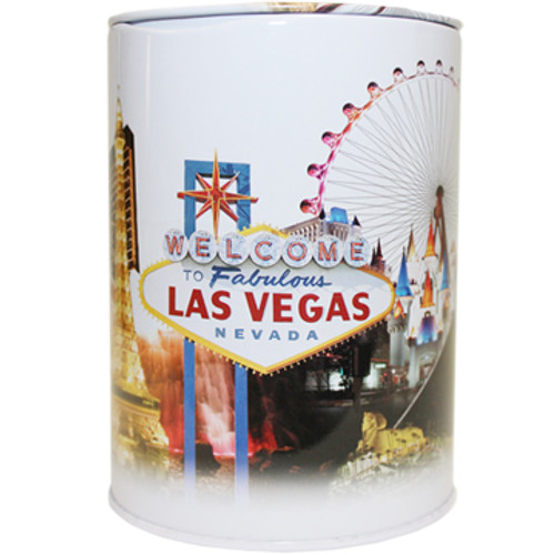 White Tin bank in cylinder shape with colorful Skyline of Las Vegas Iconic Casinos all over it.