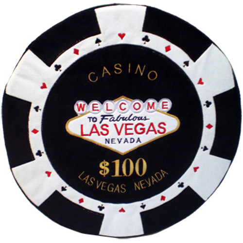 Round Poker Chip Shape Decorative Pillow in Black and White, designed to replicate a real $100 poker chip.