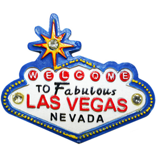 Acrylic Blue Las Vegas Sign Magnet with Diamonds.