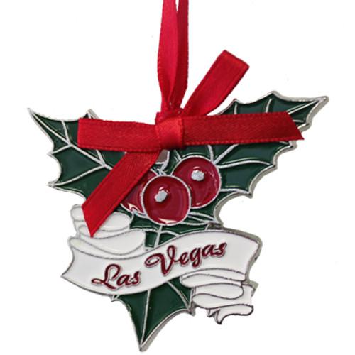 Metal Las Vegas Mistletoe Shape ornament; with a Red Ribbon.