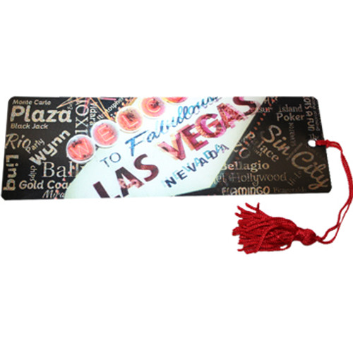 Bookmark with the Las Vegas Welcome Sign theme and red tassel.