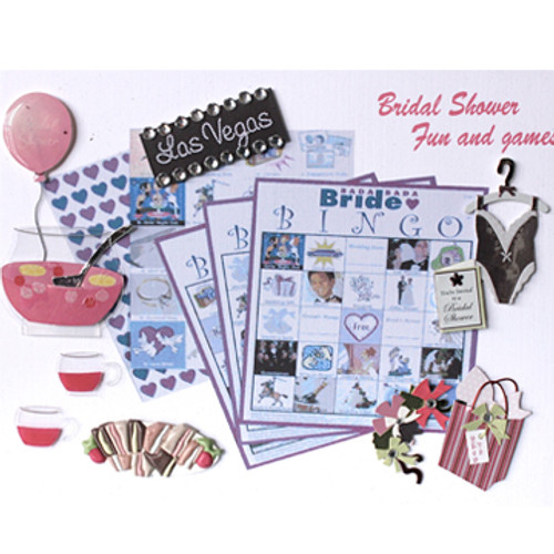 Hand embellished with 3D stickers and Pop Out items decorate this Bridal Shower Photo Album cover.