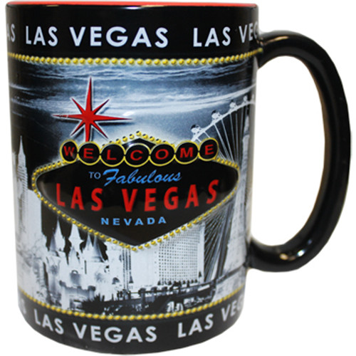 Oversized Las Vegas ceramic coffee mug with a prominent Las Vegas Sign design embossed design with a gray and black background, side view.