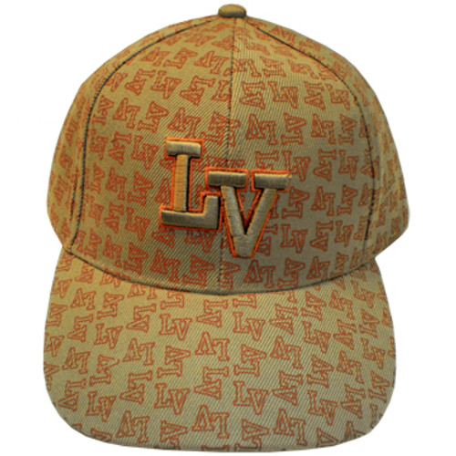 """Tan Baseball style cap with """"LV"""" in orangish-brown hues all over it. There is a large LV Embroidered in the center also."""