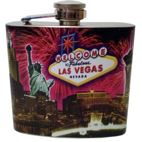 Las Vegas Fireworks Collage Flask