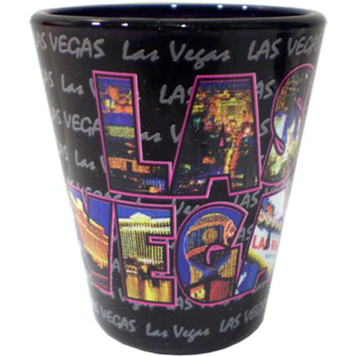 Las Vegas Shot Glass Black with Color Photo Letters