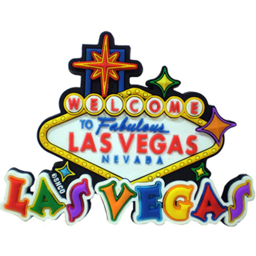 Rubber Colorful Cut Out Las Vegas Souvenir Magnet