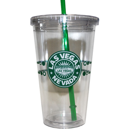 "Clear Plastic Tumbler with Green Straw, screw top lid, and Green ""Starbucks Look"" design on it."