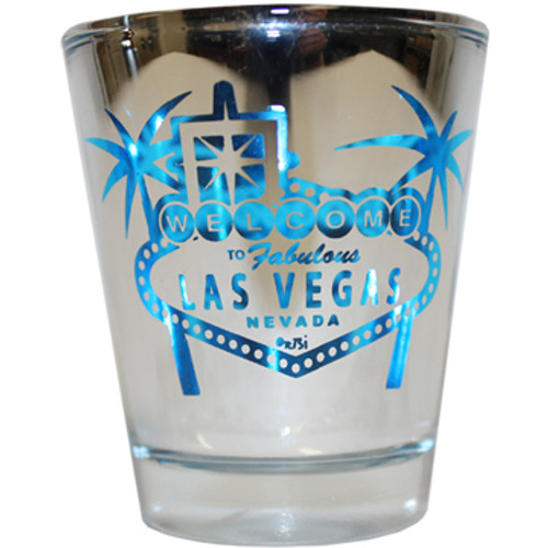 Reflective Glass Las Vegas shotglass with a Blue Design palm trees and welcome sign on the front.