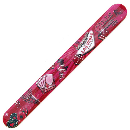 Pink Background Large Size cardboard Nail File with a Printed Pictures of fun girl's night out items on it.... Vegas Style.