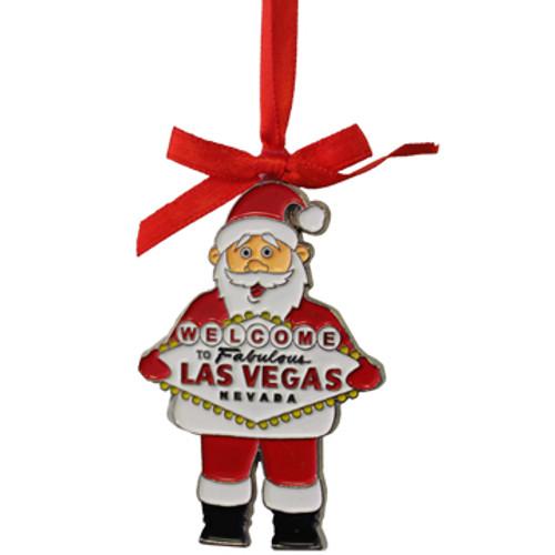 Metal Santa Shape ornament holding the Las Vegas Sign.