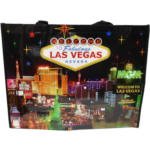 Bright Colorful Stars on a Black background tote bag shows the natural beautiful night skyline over Las Vegas Casinos in bright colors.